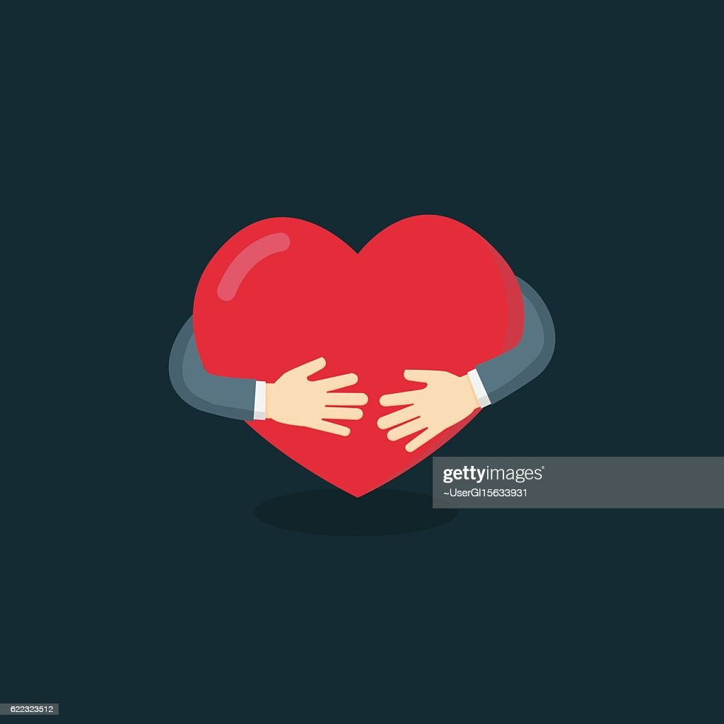 Hug The Love Shape Vector, Hug Your Self Love Your Self.