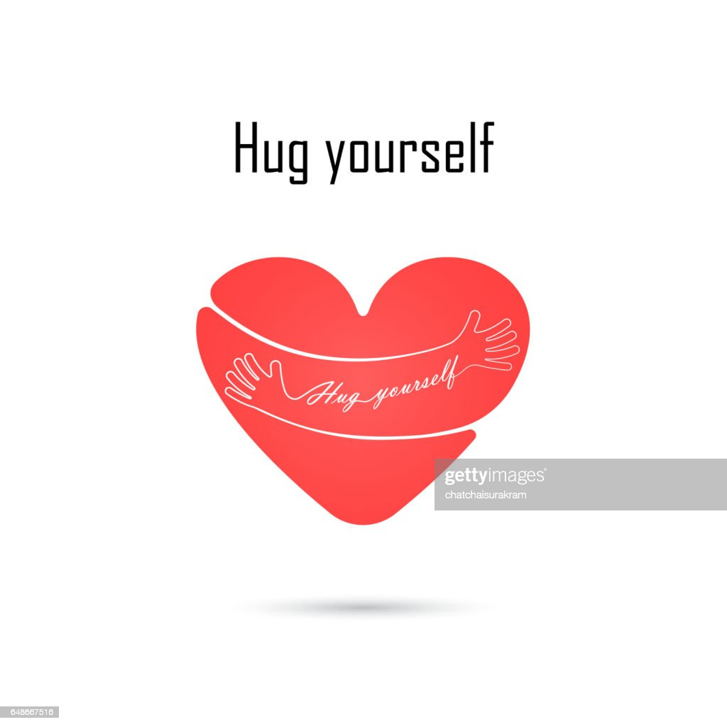 Hug yourself logo.Love yourself logo.Love and Heart Care icon.Embrace heart logo design vector template.Embracing logotype negative space icon.Heart shape and healthcare & medical concept