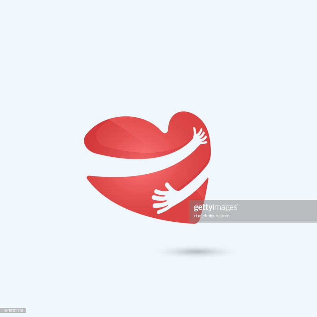 Hug yourself logo.Love yourself logo.Love and Heart Care icon.Heart shape and healthcare & medical concept.