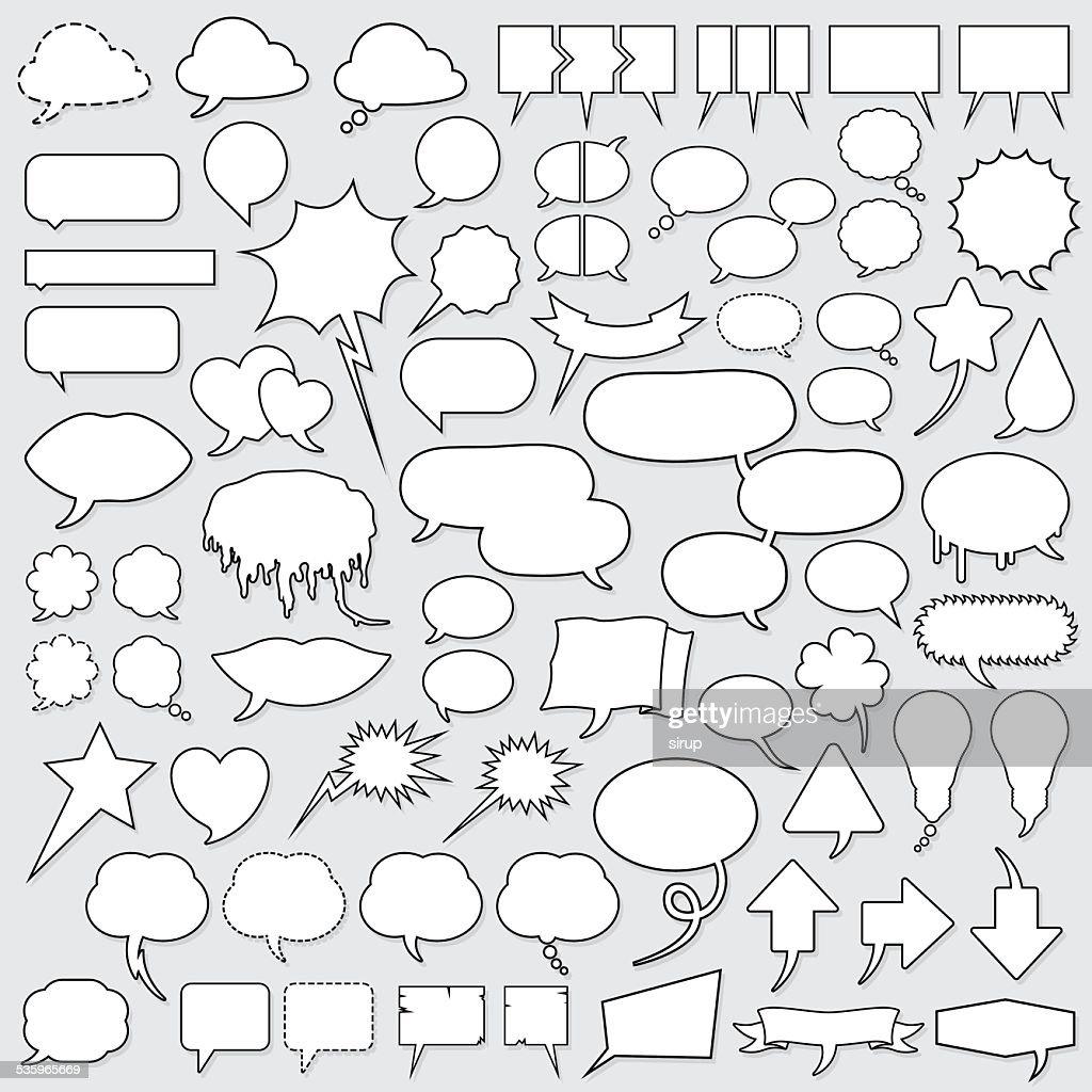 huge cartoon speech bubble set : Vector Art
