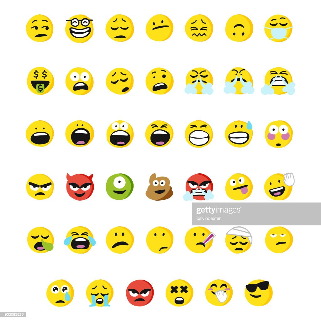 Huge collection of cartoony and cute emoticons : stock illustration