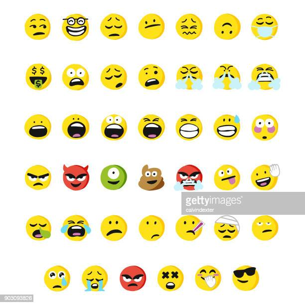 huge collection of cartoony and cute emoticons - sick stock illustrations, clip art, cartoons, & icons