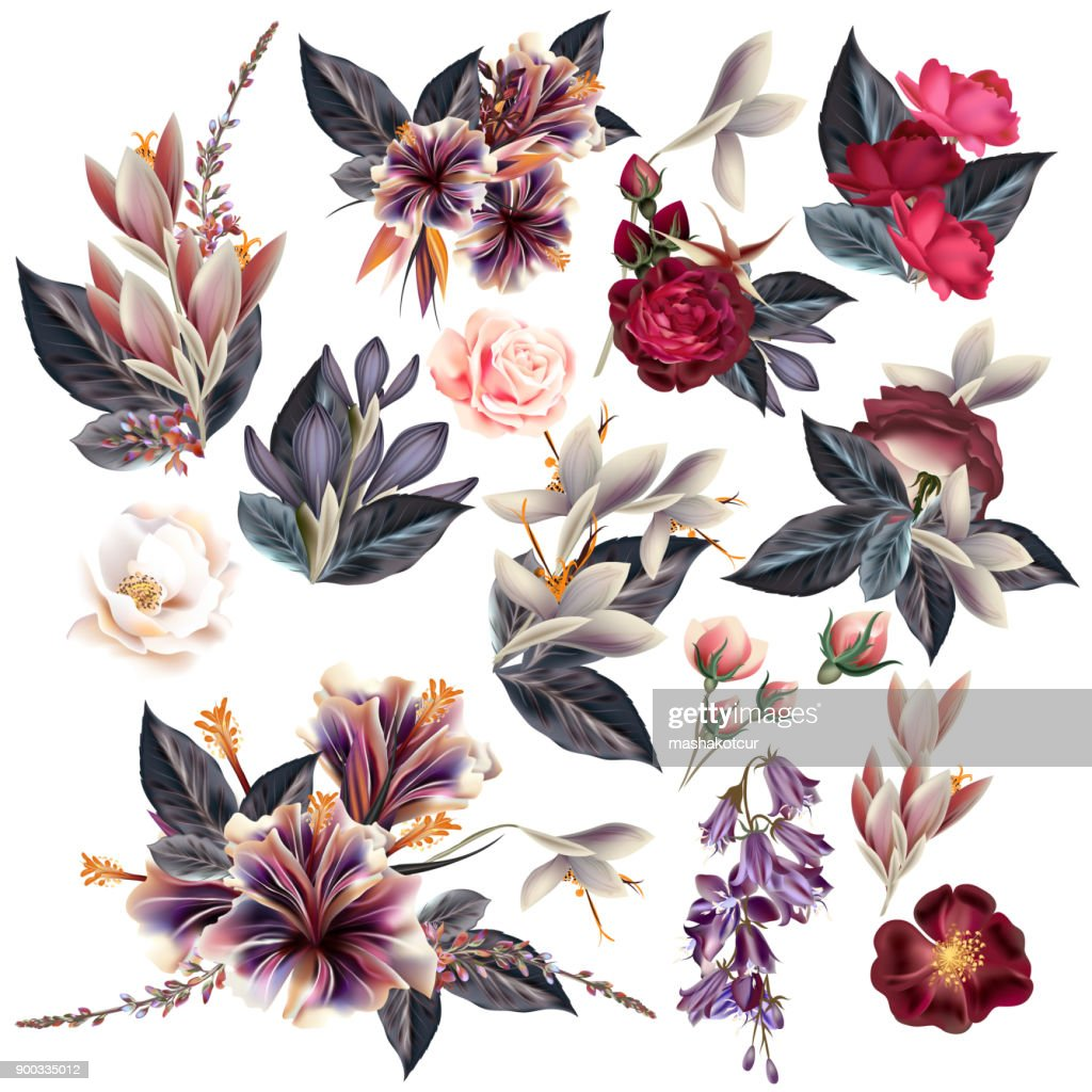 Huge collection of flowers in vintage style
