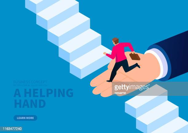 huge hand helps businessman to cross the broken stairs - moving up stock illustrations