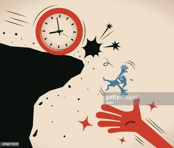 illustrations, cliparts, dessins animés et icônes de énorme aider main attraper la femme d'affaires (femme, fille) poussé d'une falaise par une horloge grand temps (tombant d'une falaise), juste à temps - temps limité
