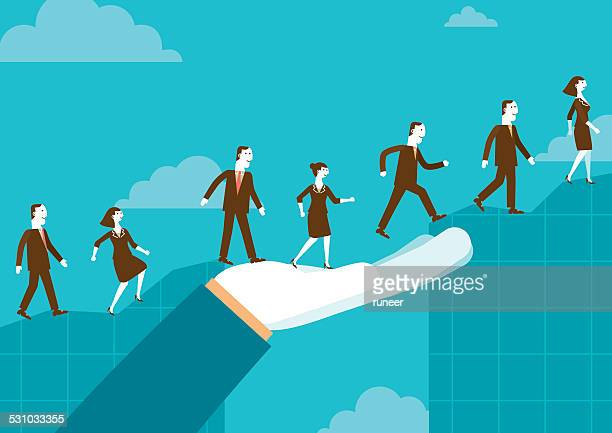 huge helping hand over chart | new biz - leadership stock illustrations