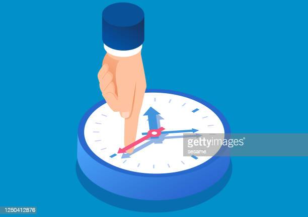 ilustraciones, imágenes clip art, dibujos animados e iconos de stock de un enorme dedo índice evita que la segunda mano se mueva, una ilustración conceptual de la gestión del tiempo - reloj de pared