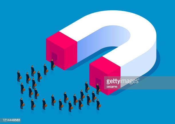 huge magnet attracts crowd - love at first sight stock illustrations