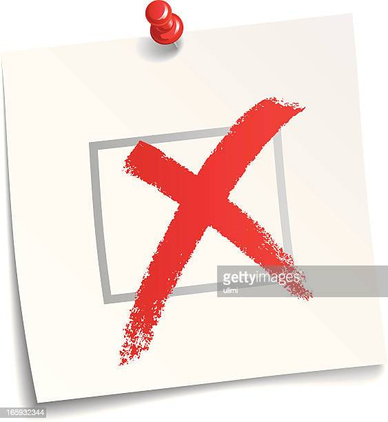 a huge red x mark on a piece of paper - cross shape stock illustrations, clip art, cartoons, & icons