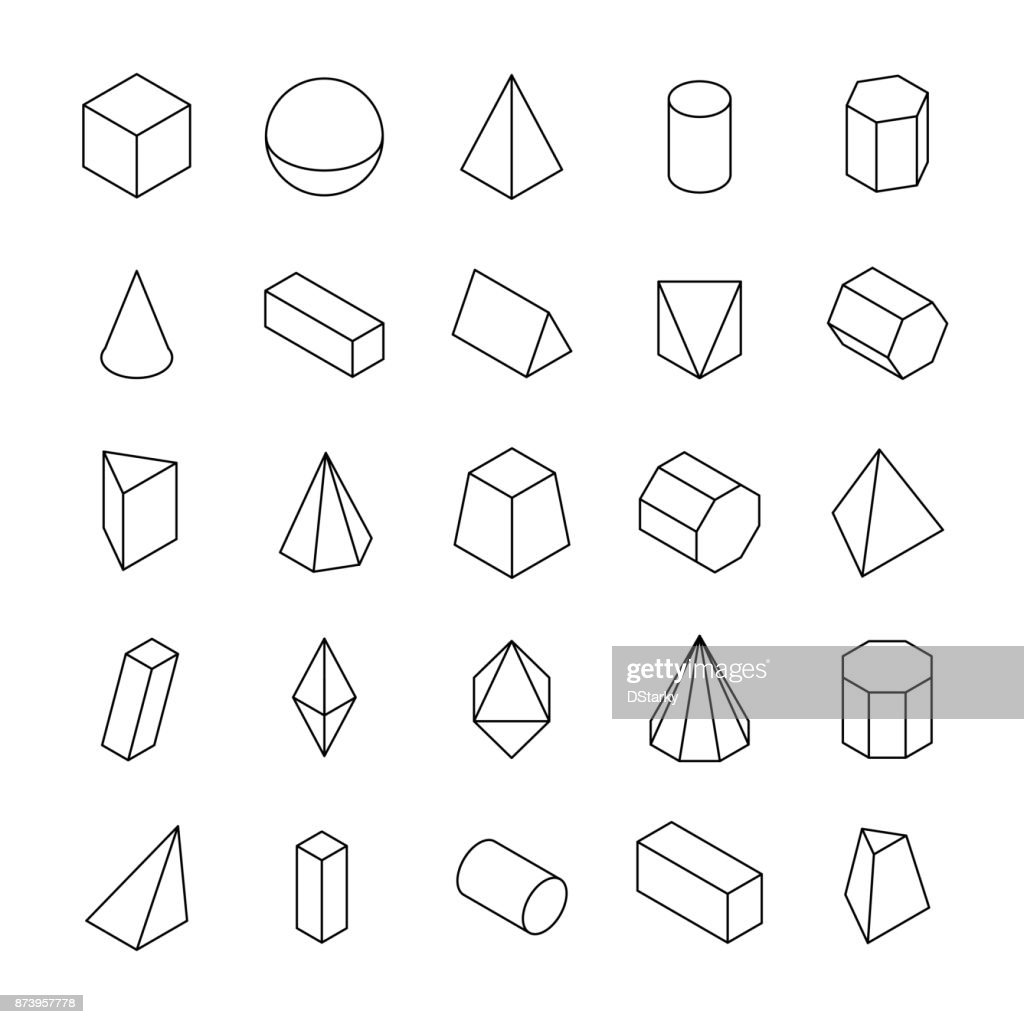 Huge Set Of 3d Geometric Shapes With Isometric Views stock