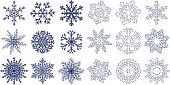 Huge set of blue snowflakes