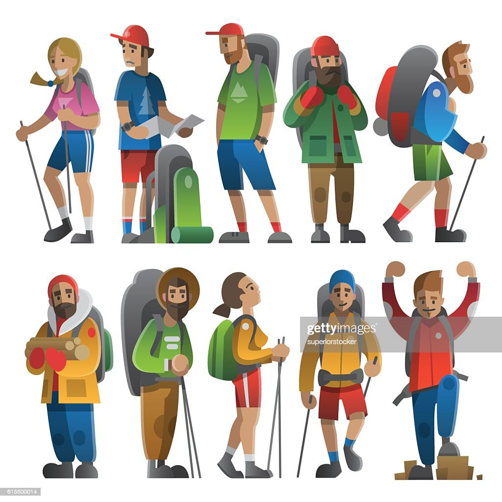 Huge set of hikers and backpackers. Flat style with gradients