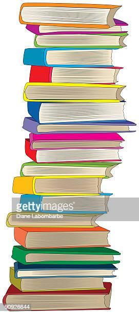 巨大なスタックの nineteen マルチカラーの書籍の上 - clip art点のイラスト素材/クリップアート素材/マンガ素材/アイコン素材
