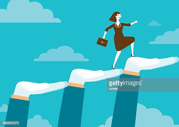 bildbanksillustrationer, clip art samt tecknat material och ikoner med huge supporting hands for businesswoman | new business concept - sponsra
