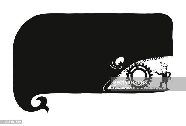 huge whale with a gear in mouth - whales stock illustrations, clip art, cartoons, & icons
