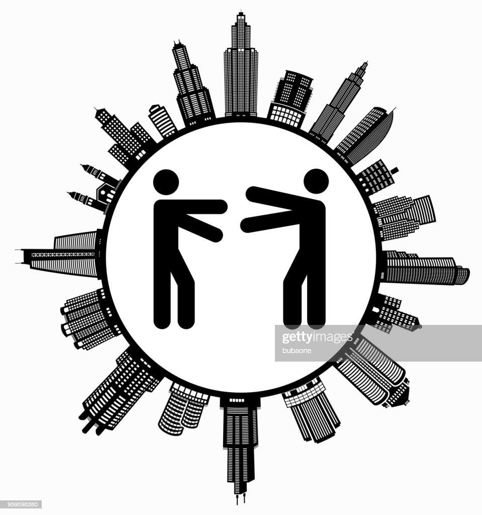 Hugging  on Modern Cityscape Skyline Background : stock illustration