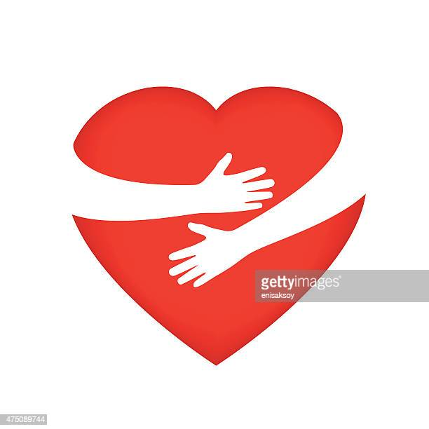 hugging someone's heart - embracing stock illustrations