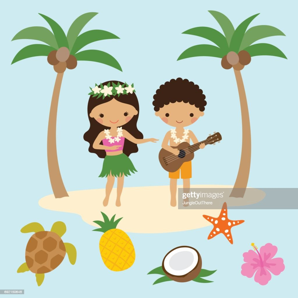 Hula Dancer Girl and Ukulele Boy in Hawaii