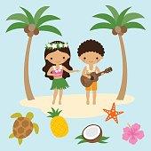 Hula Dancer Girl and Ukulele Boy in Hawaii
