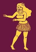 Hula girl dancing vector silhouette