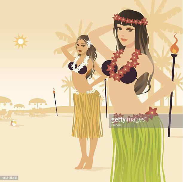 hula girls - hawaiian ethnicity stock illustrations, clip art, cartoons, & icons