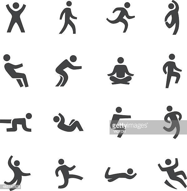 human action icons - acme series - crouching stock illustrations, clip art, cartoons, & icons