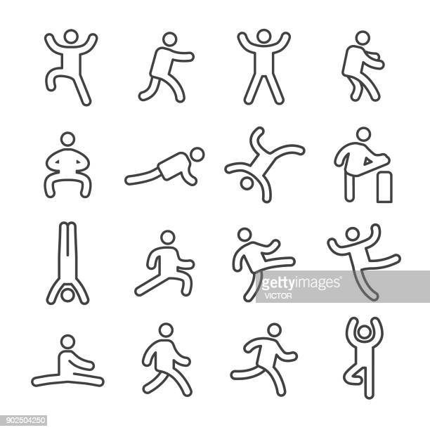 human action icons - line series - the human body stock illustrations, clip art, cartoons, & icons