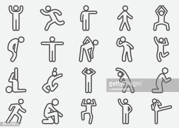human action line icons - crouching stock illustrations, clip art, cartoons, & icons