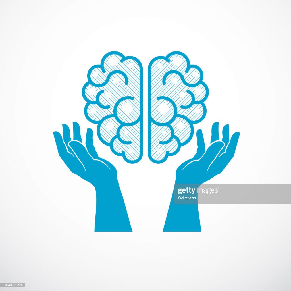 Human anatomical brain with tender defending hands of care. Vector illustration, icon. Care for mental health, careful and correct education concept.