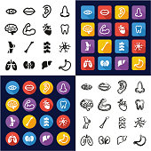 Human Anatomy All in One Icons Black & White Color Flat Design Freehand Set