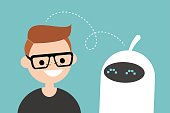Human and robot communication. New technologies. Flat editable vector illustration, clip art