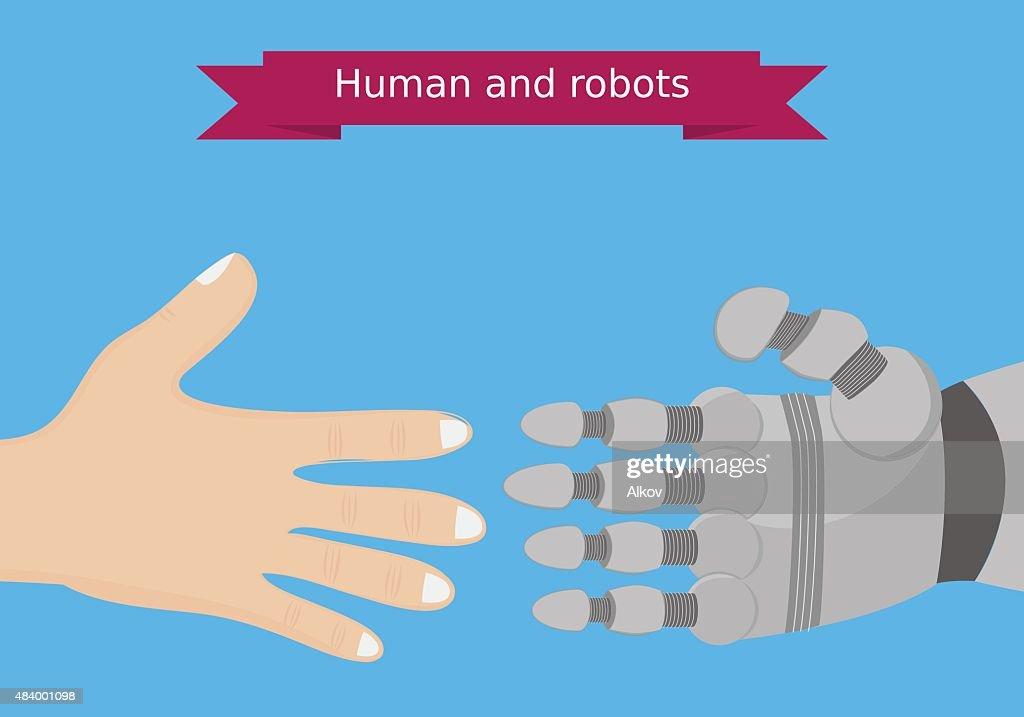 Human and robot hands flat design. Human and robot interaction conceptual illustration