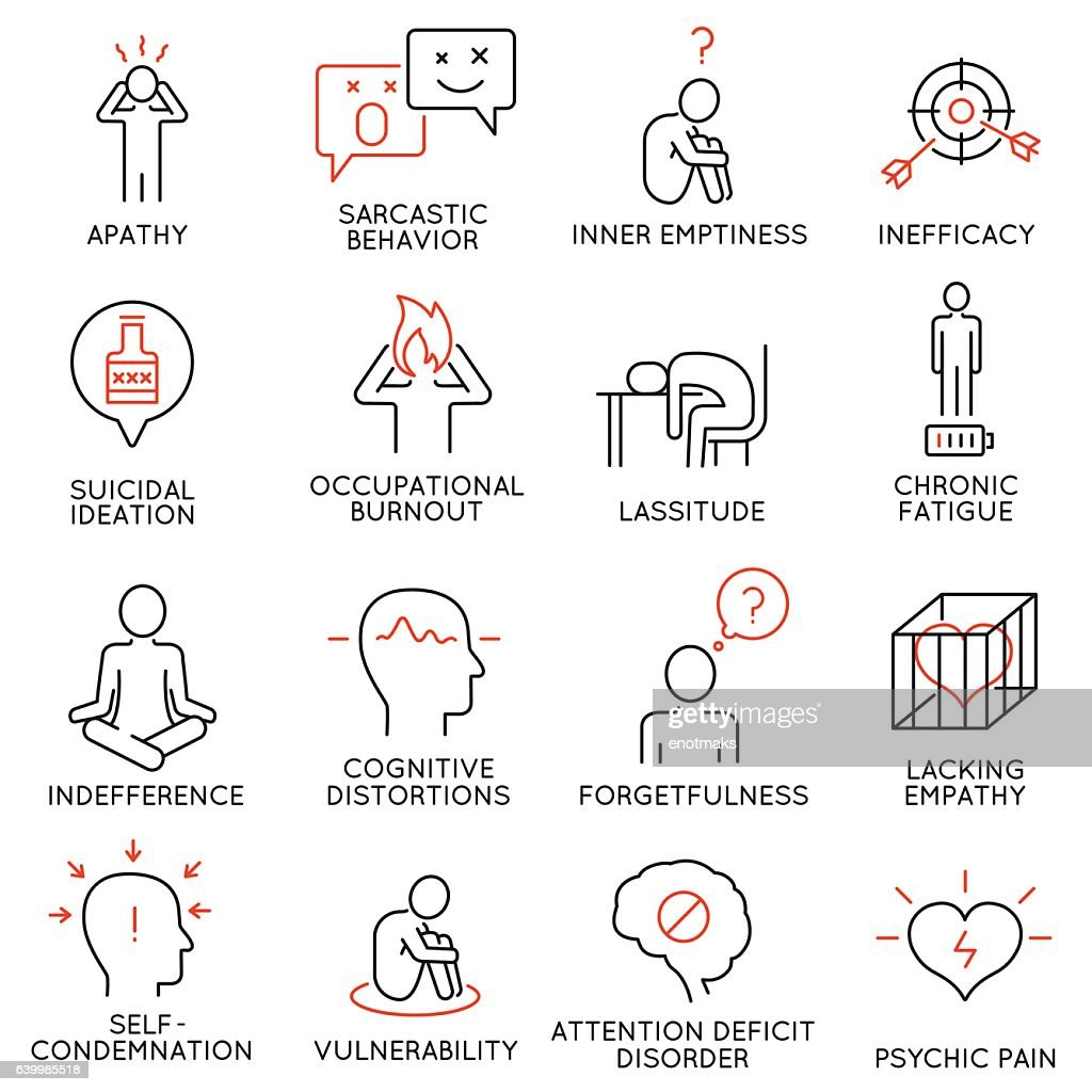Human behavior and mental conditions icons