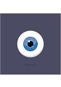 Human blue eye isolated on dark background. Eyeball iris pupil