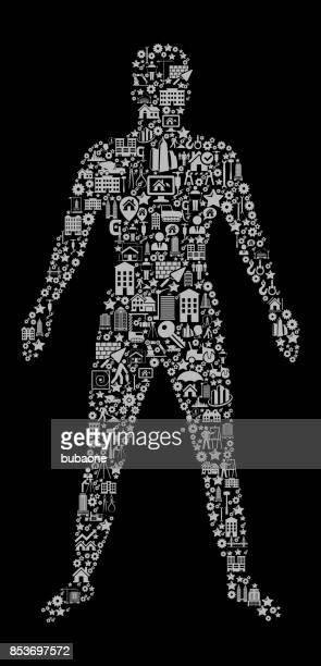 Human Body  Construction Industry Vector Icon Pattern