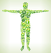 Human Body Environmental Conservation Green Vector Button Pattern.