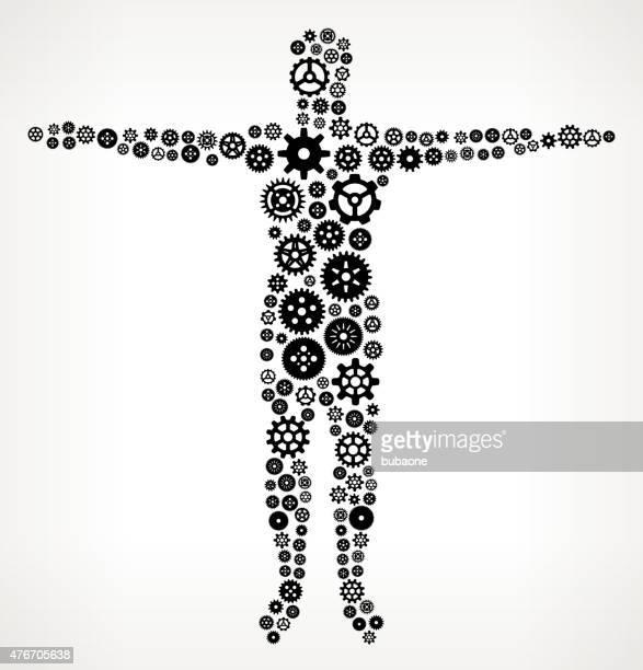 Corpo umano ingranaggi e pignoni motivo.