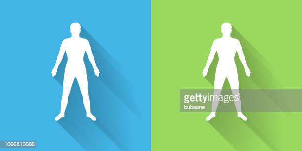 human body icon with long shadow - the human body stock illustrations