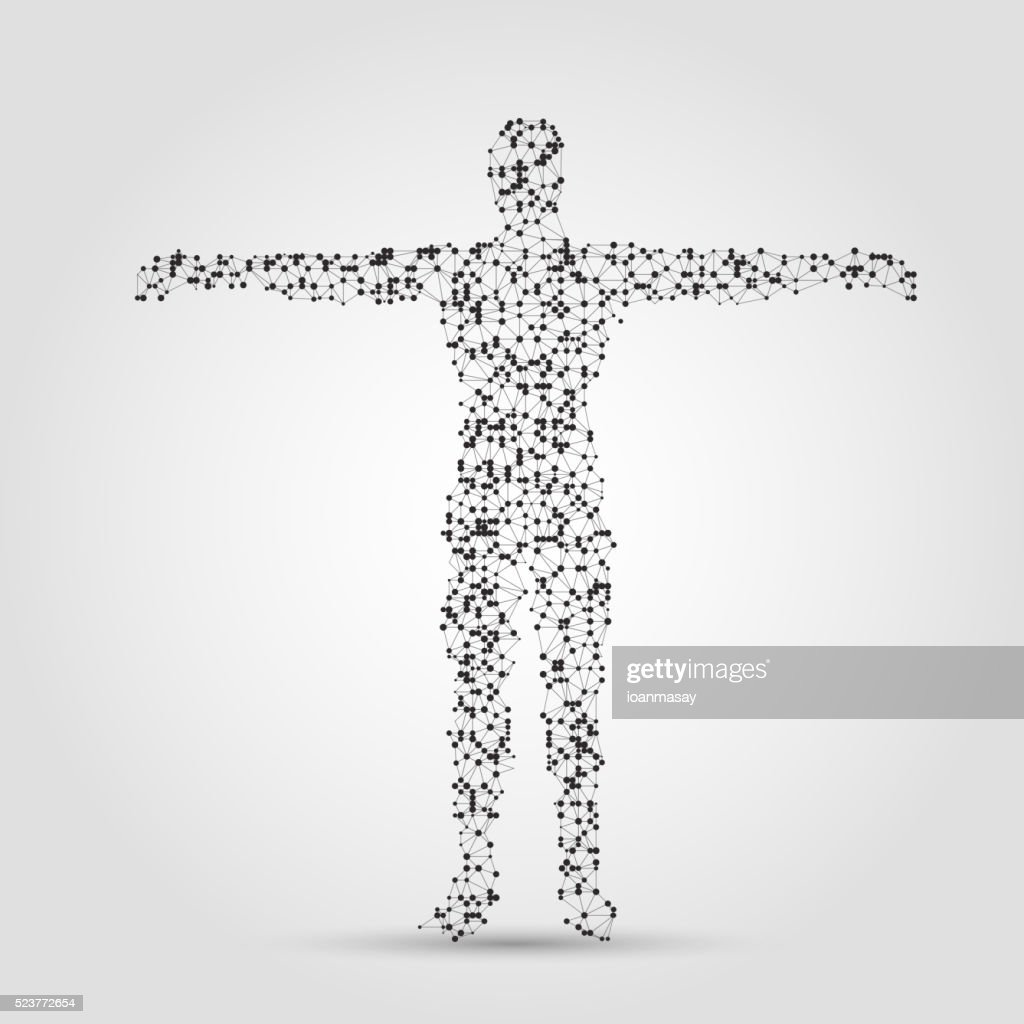 human body made of dots and lines.