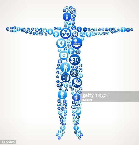 illustrations, cliparts, dessins animés et icônes de corps humain de robots et robotique vector bouton pattern - prothèse