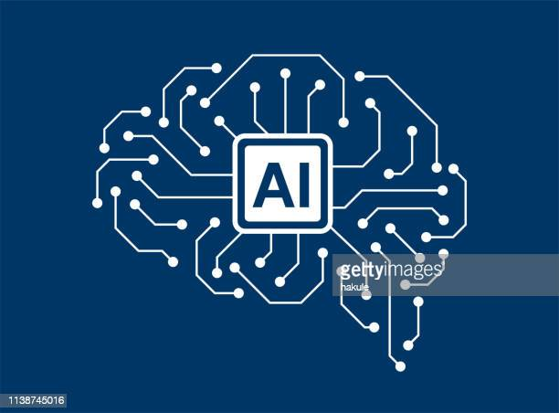 human brain and artificial intelligence concept - artificial intelligence stock illustrations