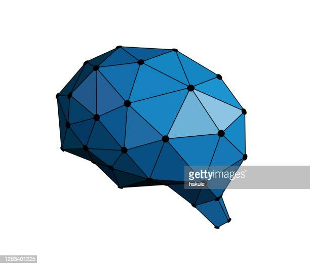human brain and artificial intelligence concept - artificial neural network stock illustrations