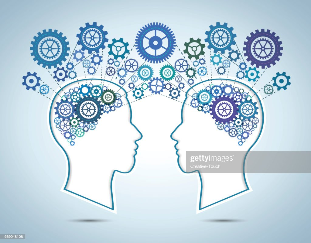 Human brain and communication concept
