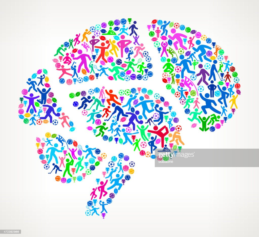 Human Brain Fitness Sports and Exercise pattern vector backgroun : stock illustration
