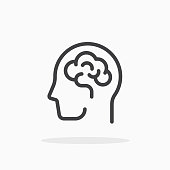 Human brain icon in line style.