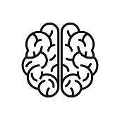 Human brain icon sign - vector