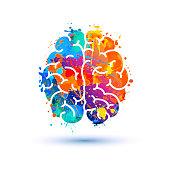 Human brain icon. Splash paint