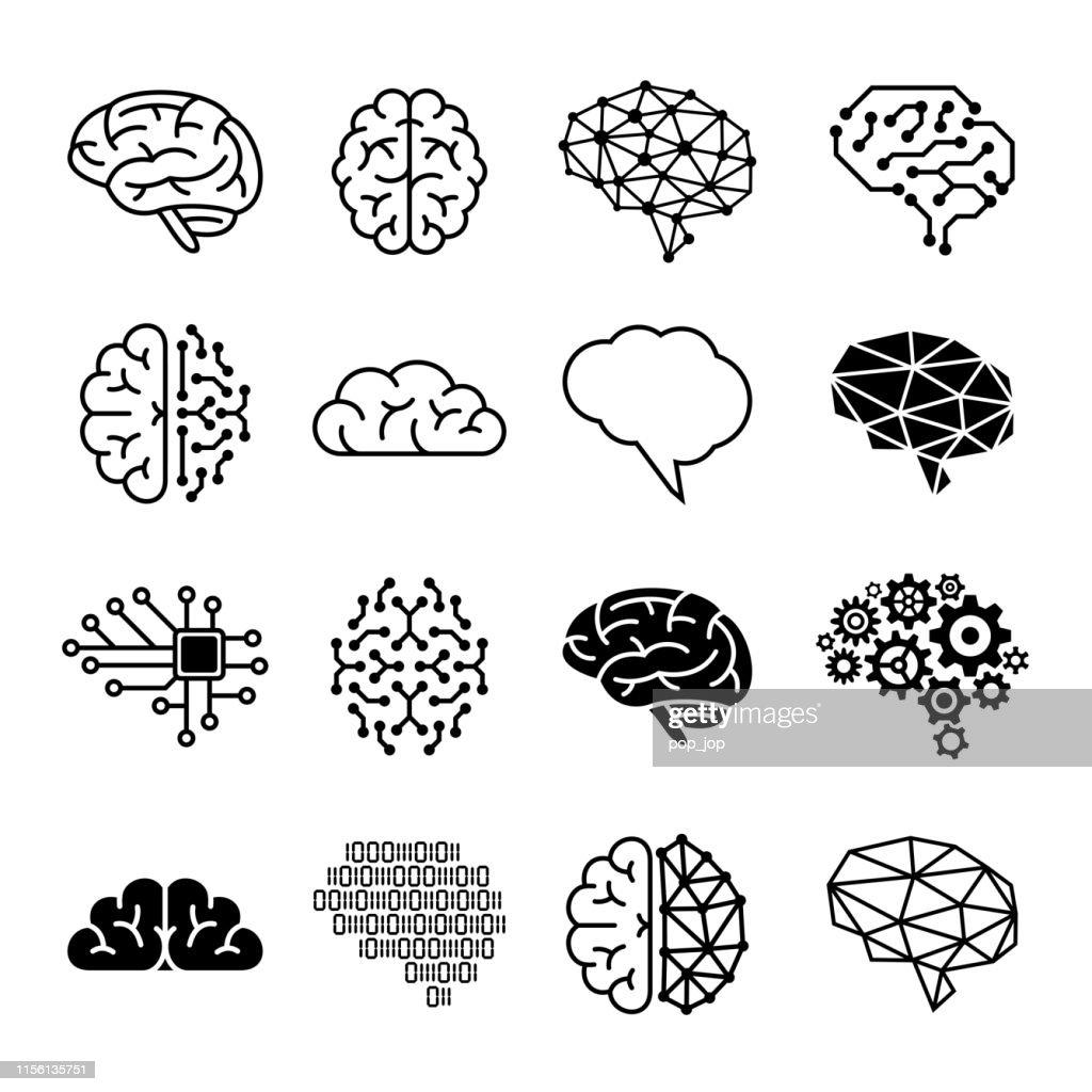 Menschliche Gehirn-Symbole - Vektor-Illustration : Stock-Illustration