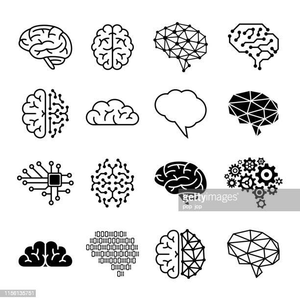 human brain icons - vector illustration - emotion stock illustrations