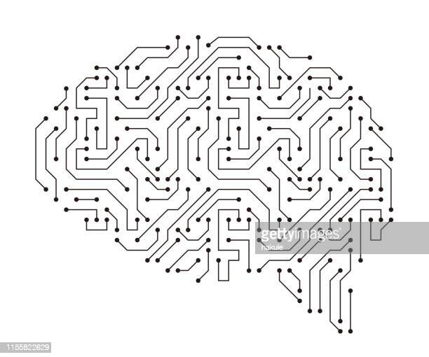 human brain, motherboards, chip and artificial intelligence concept - brain stock illustrations